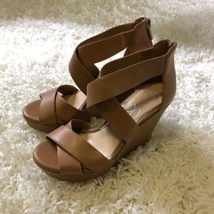Jessica Simpson Tan Strappy Wedges – NEVER WORN